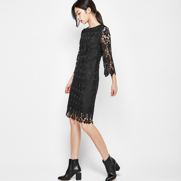 (OP-3026) Three-quarter sleeve lace One Piece