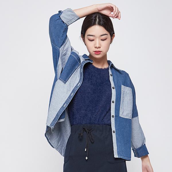 (BL-2469) two tone color combination Denim Shirt