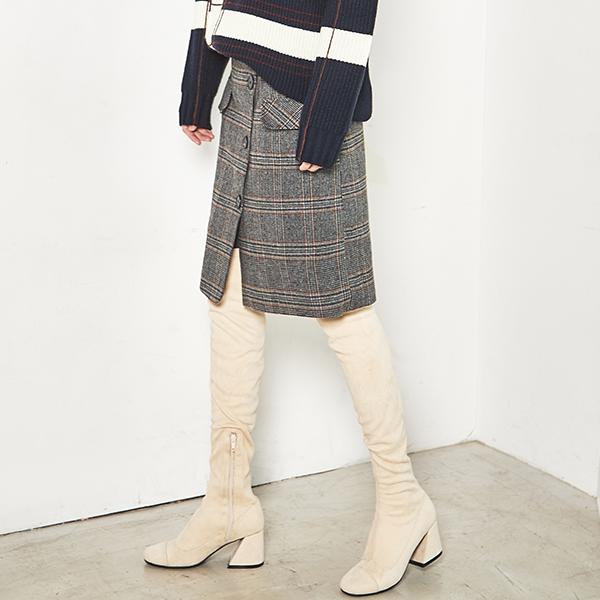 (SK-2774) Check Belt Midi Skirt