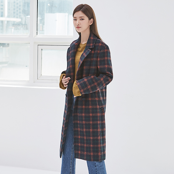 (CT-930) Check Semi overfit Coat