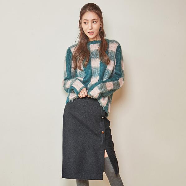 (SK-2728) Wool button Midi Skirt