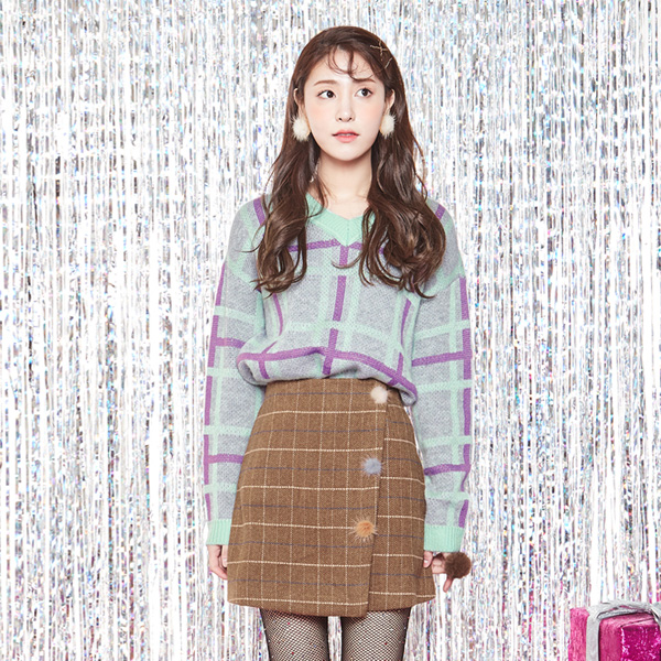 (SK-2794) Fur key point Check Skirt