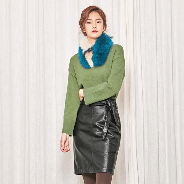 (SK-2772) Leather Belted Slit Skirt