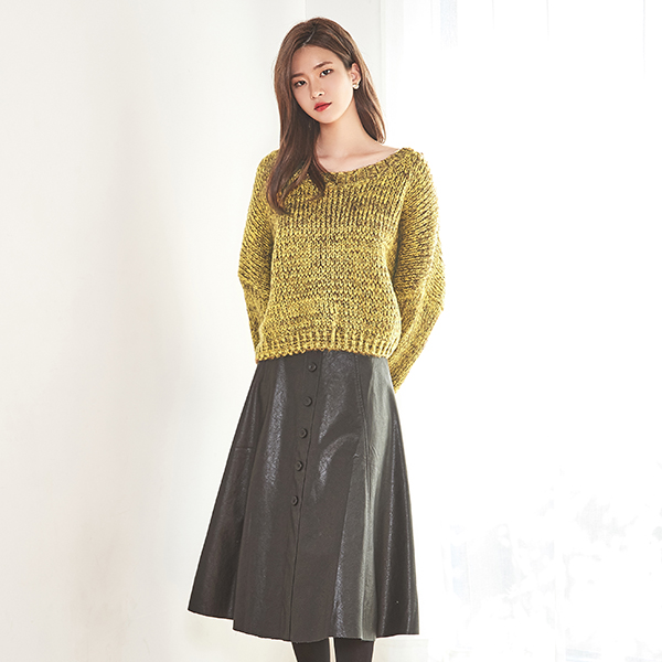 (SK-2778) Leather button Aline Skirt