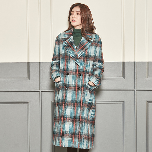 (CT-934) Wool Check Semi-overcoat