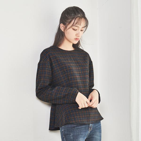 (BL-2694) Wool Check peplum Blouse