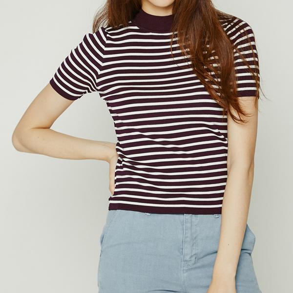 (T-3287) Stripe color combination Knit