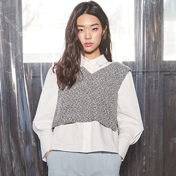 (Q-BL-2504) Setup Tweed Blouse