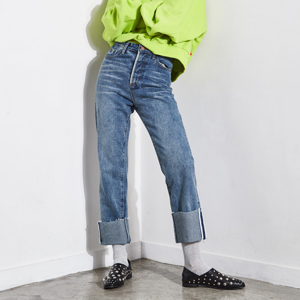 (Q-PT-2892) Rollup Denim Pants