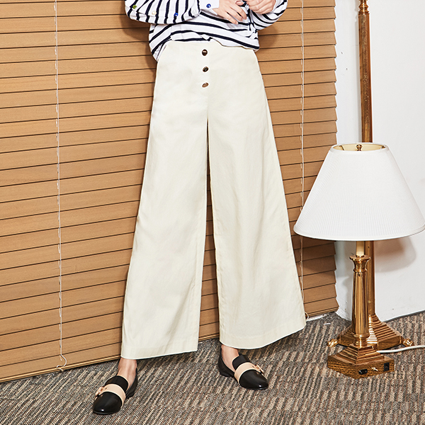(PT-2996) button key point Wide Pants