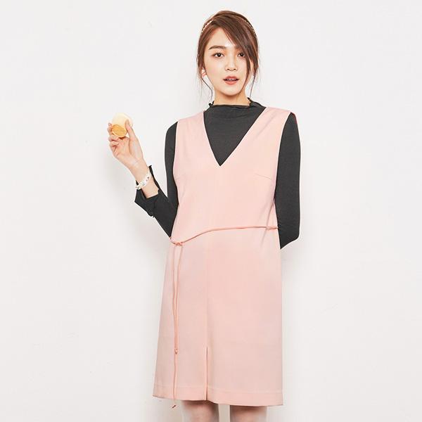 (OP-3163) layered V-neck One Piece Dress