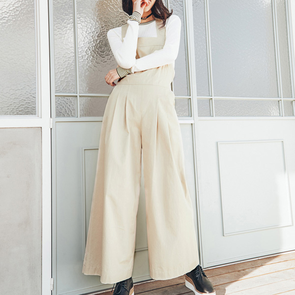 (OP-3159) Apron wide jump suit
