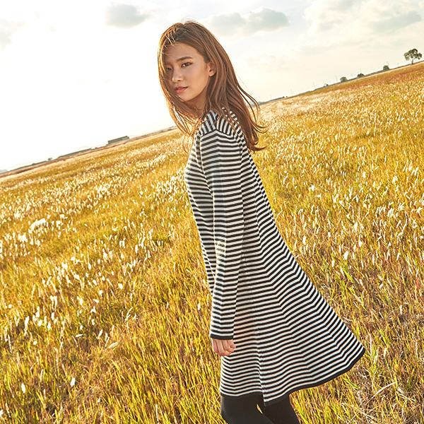(OP-3450) Flare Stripe Knit One Piece