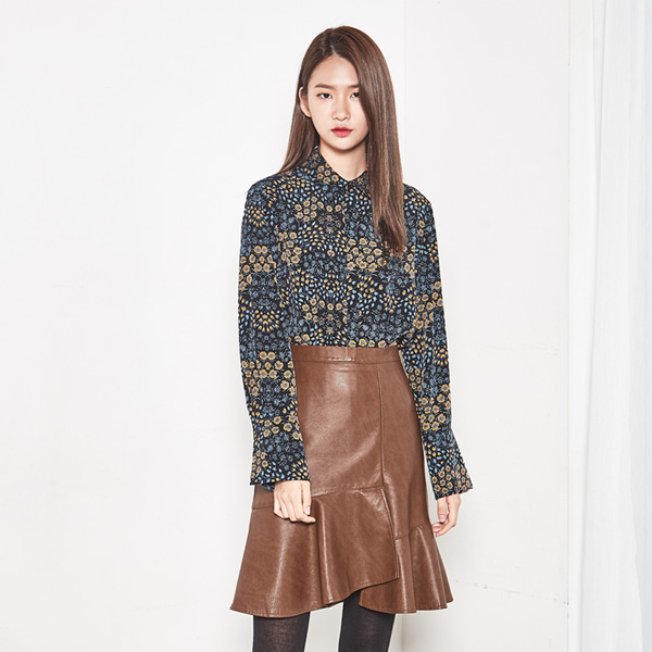 (SK-2773) Leather peplum Wrap Skirt