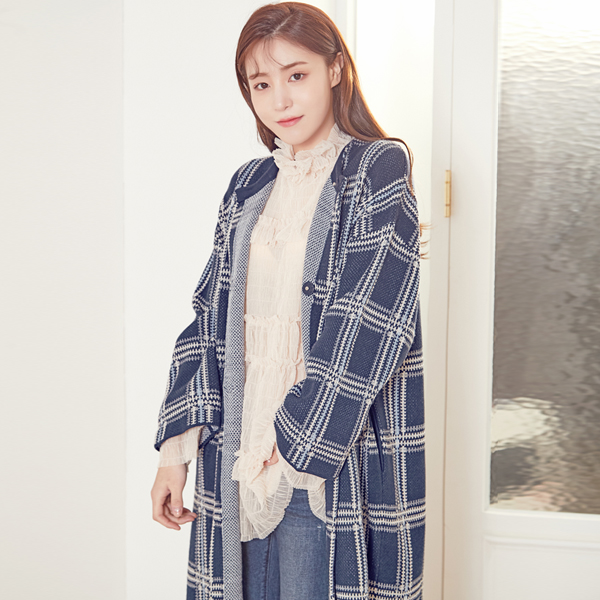 (CT-970) Check Patterns Knit Coat