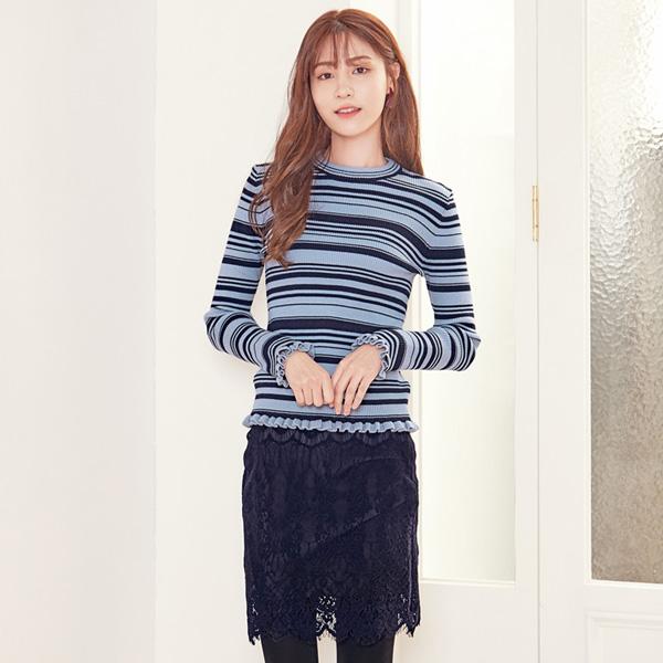 (T-3869) Frill Dan Stripe Knit