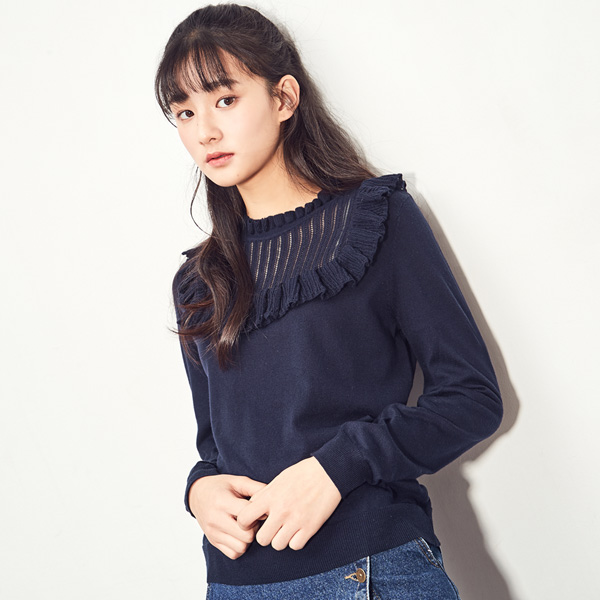 (T-3910) See-through look Freel Knit