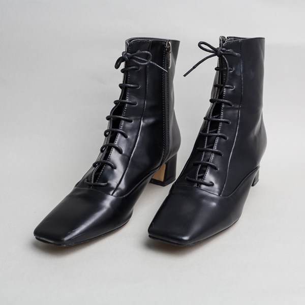(SH-2494) Square Lace-up Ankle Boots