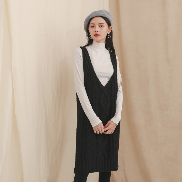 (OP-3822) Layering Cable Knit One Piece