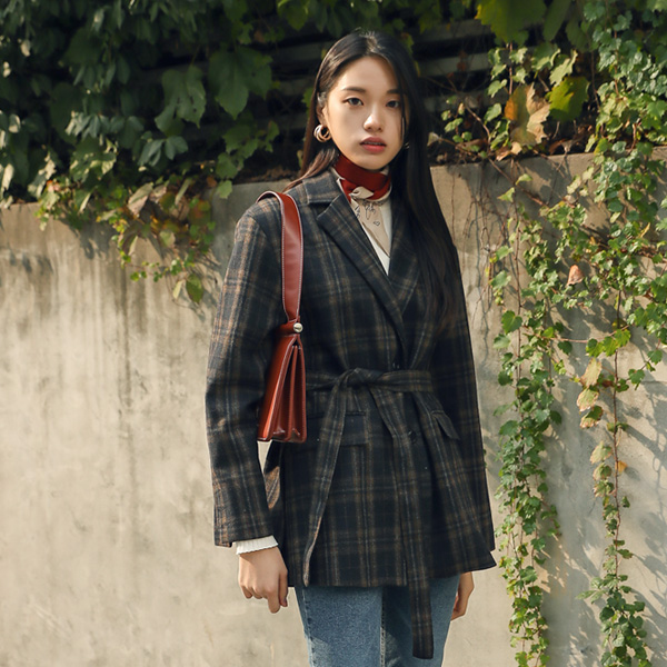 (JK-1930) Wool Slit Check Belt JacketS