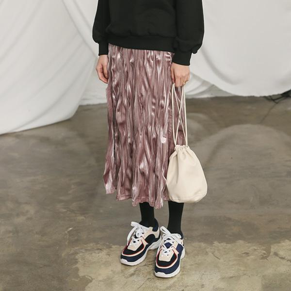 (SK-3168) Natural Pleats Velvet Skirt