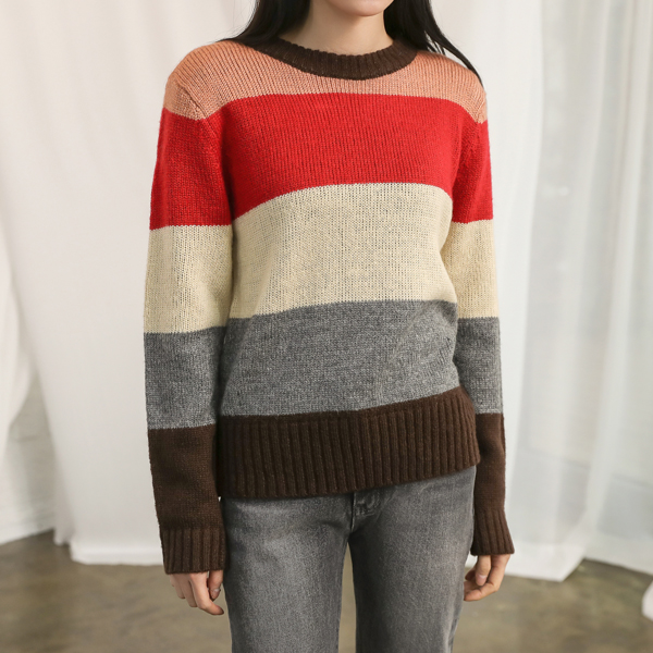 (T-4277) Color Block Stripe Knit