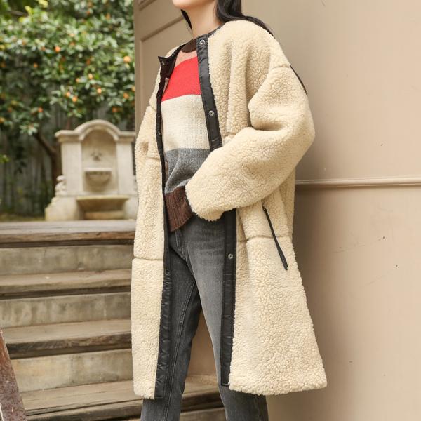 (CT-1123) Wool Long Snap Coat
