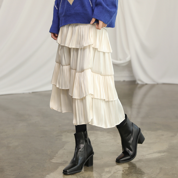 (SK-3223) Banding Tiered Skirt