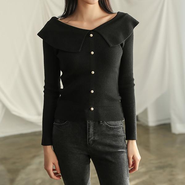 (T-4361) large Black Shoulder Knit