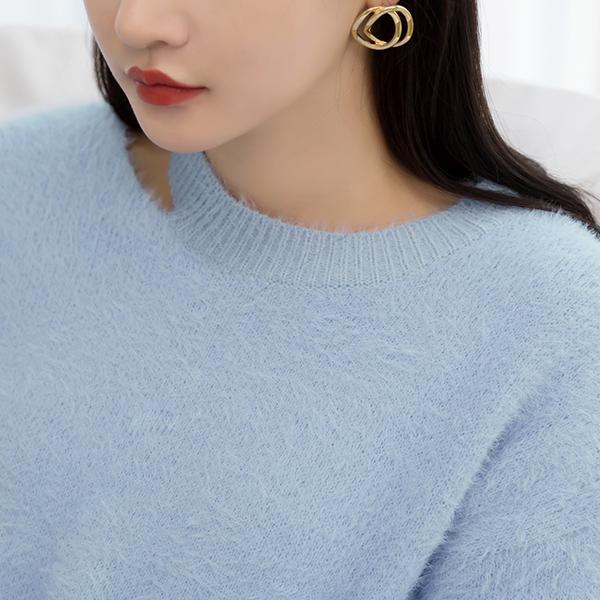 (T-4444) neck slit hair knit Knit