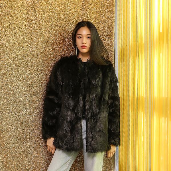 (JK-1947) Color mix Fake Fur Jacket