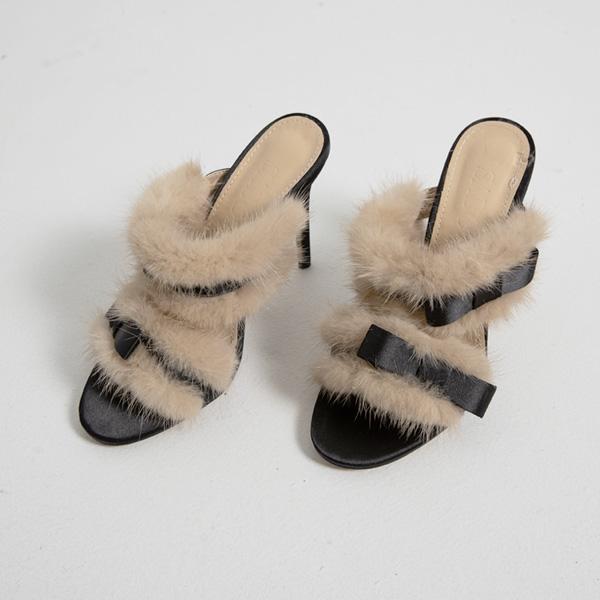 (SH-2552) two-way fake Fur bowknot Sandals Hill