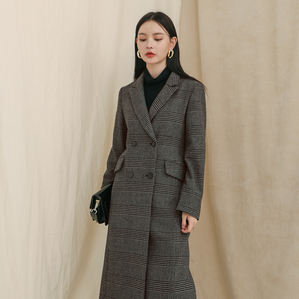 (CT-1017) Wool Check Maxi Coat