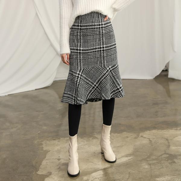 (SK-3080) Wool Check Tweed Mermaid Skirt