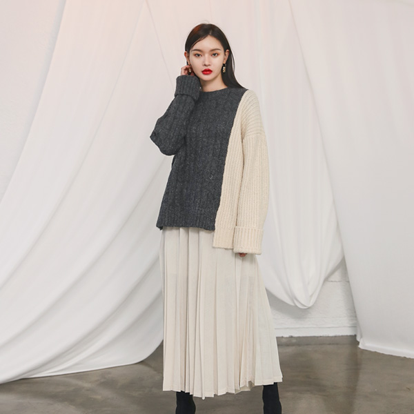 (T-4451) Asymmetric Color Block Knit