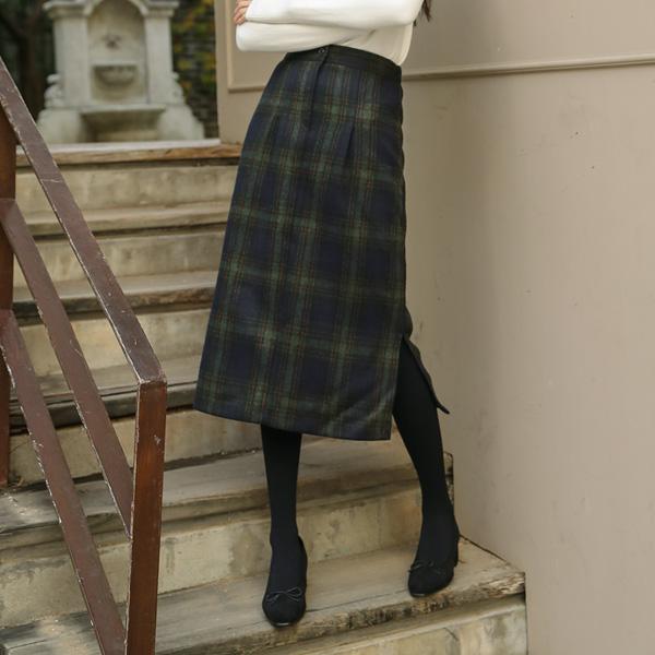 (SK-3195) Check Wool Skirt