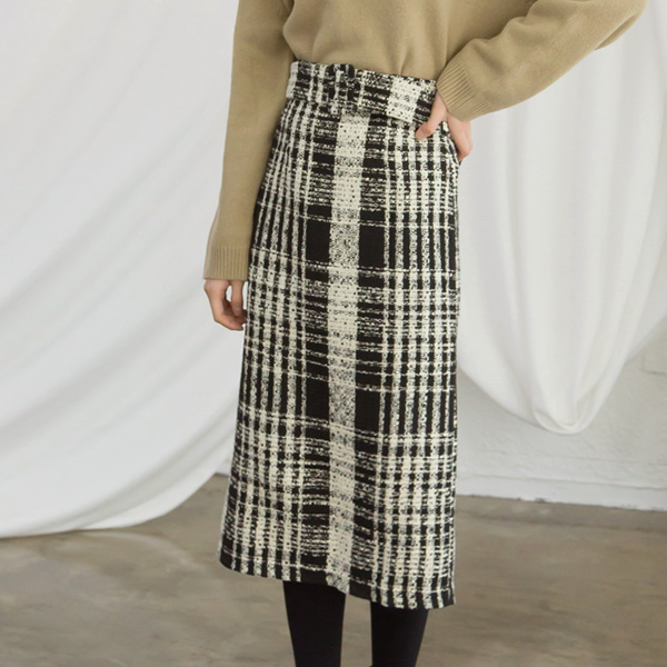 (SK-3033) Check Tweed Midi SkirtS