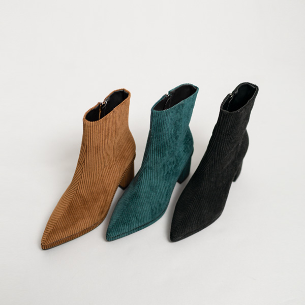 (SH-2537) Corduroy Ankle Boots