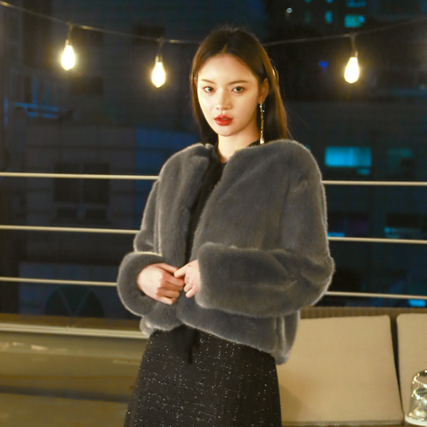 (JK-1945) Fake Fur simple Jacket