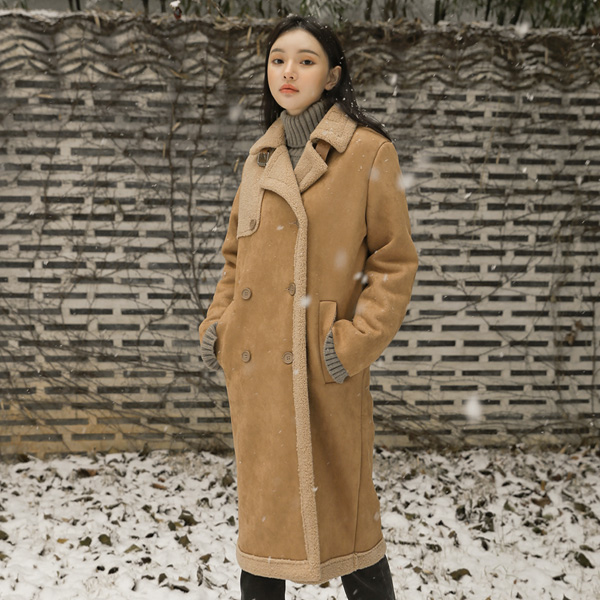 (CT-1148) double button Mustang Coat