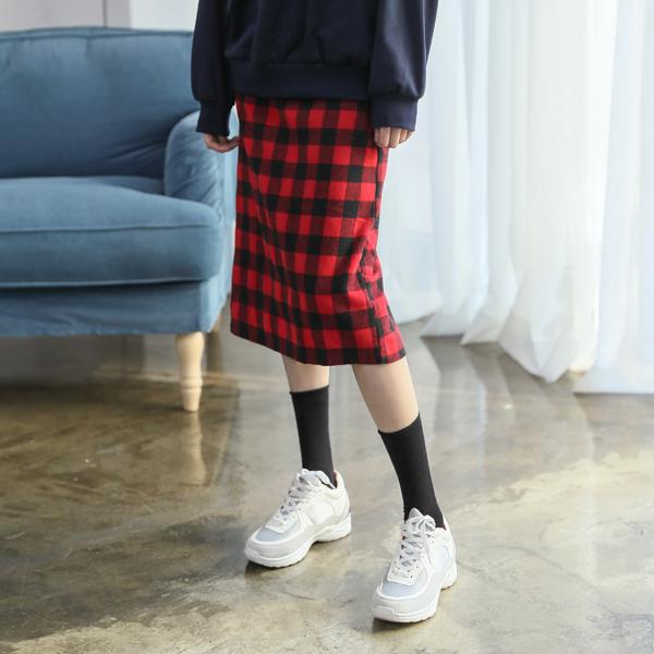 (SK-3300) Gingham Check Banding Skirt
