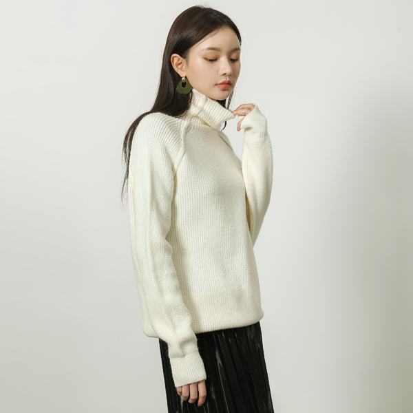 (T-4569) Wool Highneck Turtle Knit