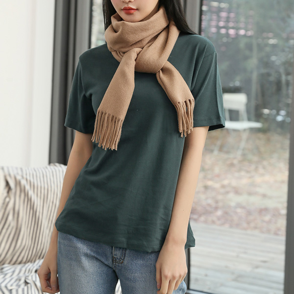 (T-4581) Round Neck Color Short-sleeve Tee