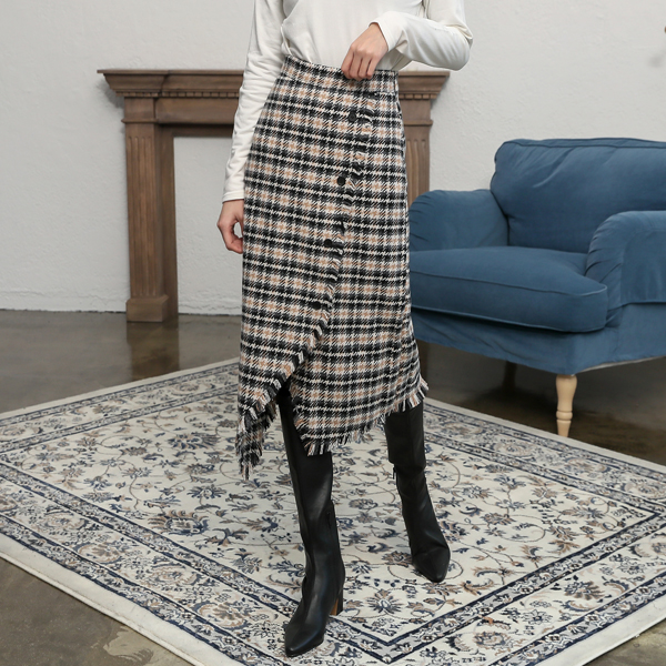 (SK-3321) Wool Check button Skirt
