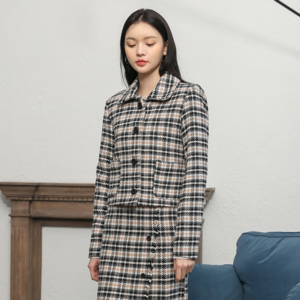 (JK-1965) Wool Check button Jacket
