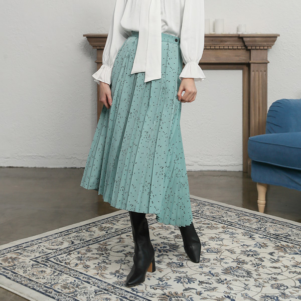 (SK-3322) Dot Pleats Lap Skirt
