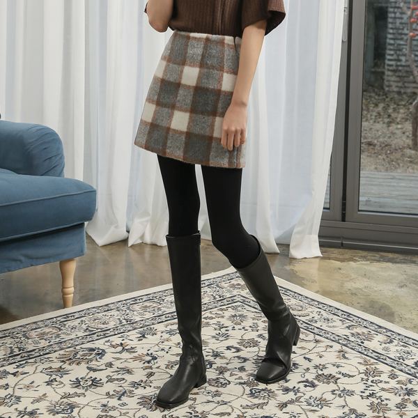 (SK-3323) Wool Wide Check Mini Skirt