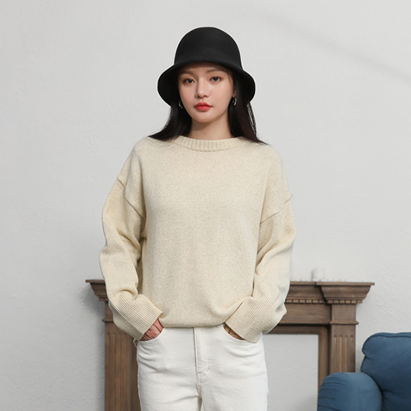 (T-4617) Wool Over-sized Round Knit