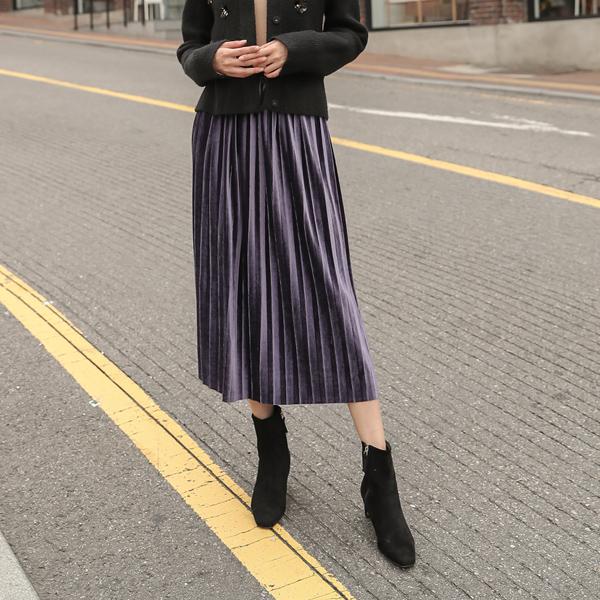 (SK-3153) Velvet Long Pleats Skirt