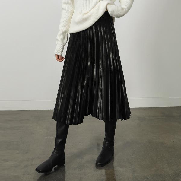 (SK-3229) Glossy Pleats Banding Skirt